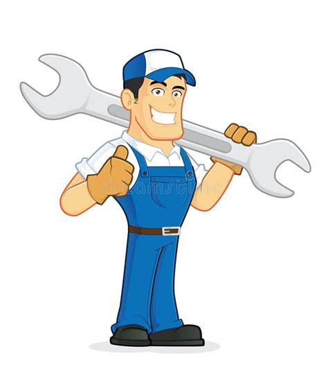 clipart idraulico meccanico o idraulico che tiene una chiave enorme