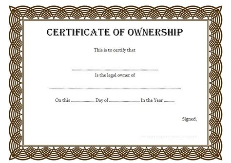 certificate  ownership template instant birth certificate  certificate ownership template