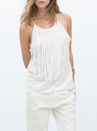 Fringed Tank Top fringed tank top orange longer length