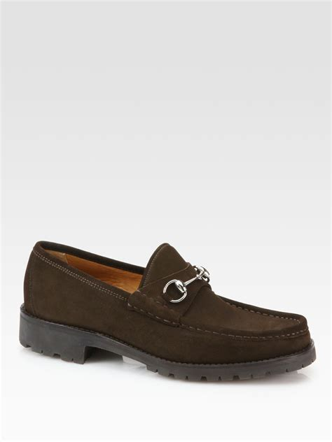 brown suede loafers gucci suede loafers in brown for lyst