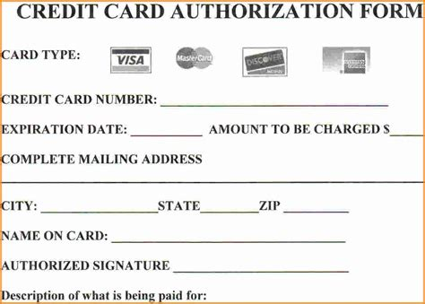 credit card payment form template excel 25 credit card authorization form template free