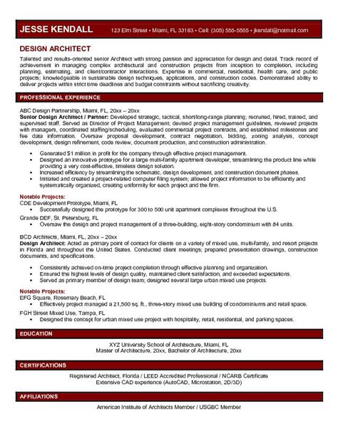 Resume Exles For Architecture Exle Design Architect Resume Free Sle