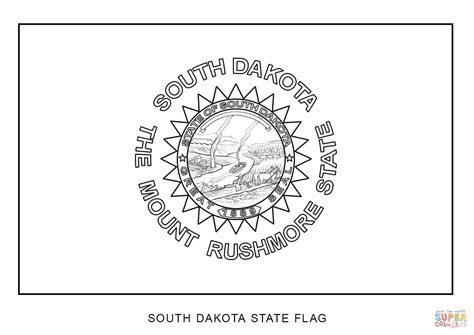 South Dakota State Flag Coloring Page south dakota state flag coloring page free printable