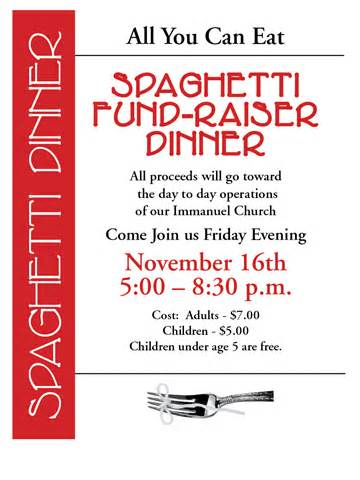 Immanuel Church Home Page I Photos Spaghetti Dinner Fundraiser Flyer Template