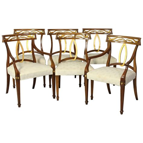 Tuscan Style Dining Chairs Set Of Six Midcentury Italian Neoclassical Style Dining Chairs At 1stdibs