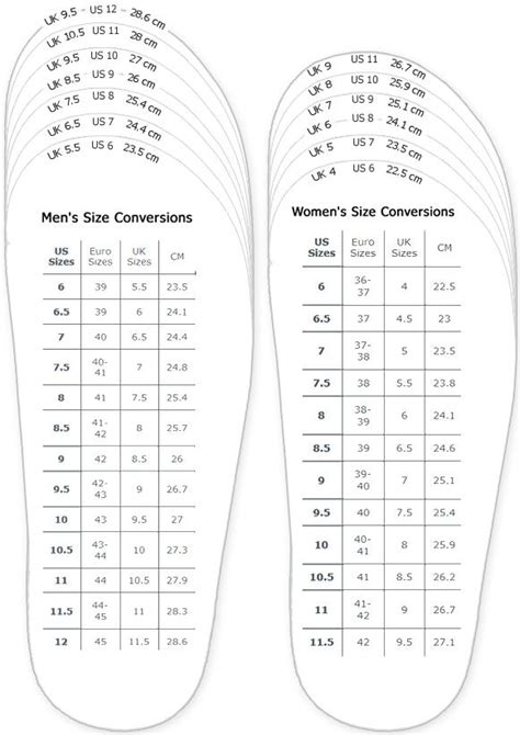 shoes measurement chart for printable and