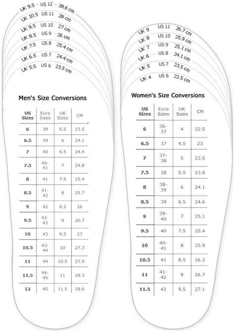 shoes measurement chart  printable adult men  woman