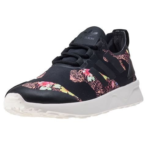 black and white patterned adidas trainers adidas zx flux adv verve w womens trainers in black floral