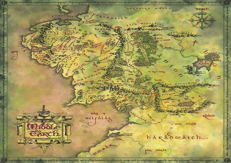 map of middle earth print lord of the rings middle earth map hobbit print