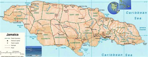 physical map of jamaica jamaika politische karte