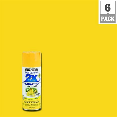 rust oleum painter s touch 2x 12 oz gloss sun yellow general purpose spray paint 6 pack