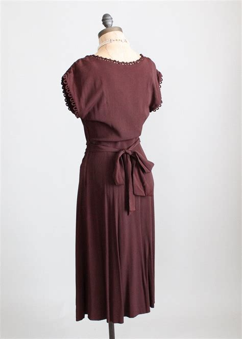 1940s swing dresses vintage 1940s cocoa crepe swing dress raleigh vintage