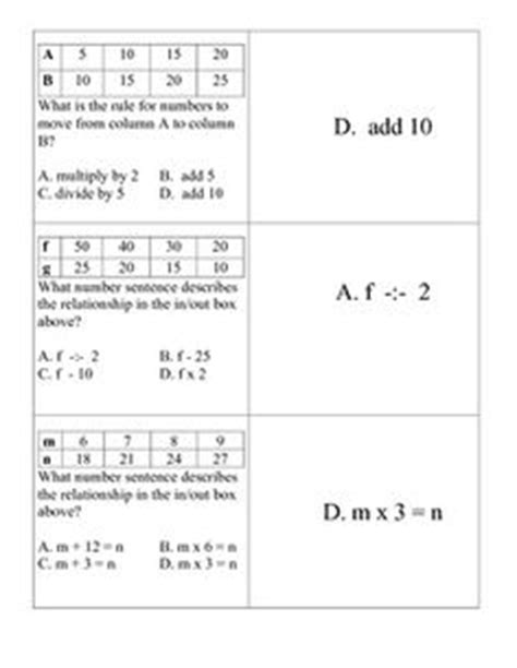 pattern rule that relates the input to the output free what s my rule input and output tables 4 pages 1