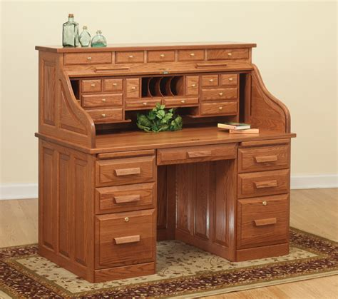 Small Roll Top Desk With Drawers 56 Quot Traditional Computer Roll Top Desk Ohio Hardwood