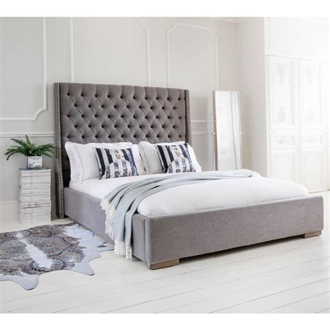 gray upholstered bed studs buttons grey upholstered bed luxury bed