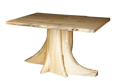 amish rustic pine log tree stump dining table