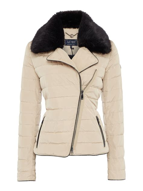 faux fur collar padded coat armani padded coat with detachable faux fur