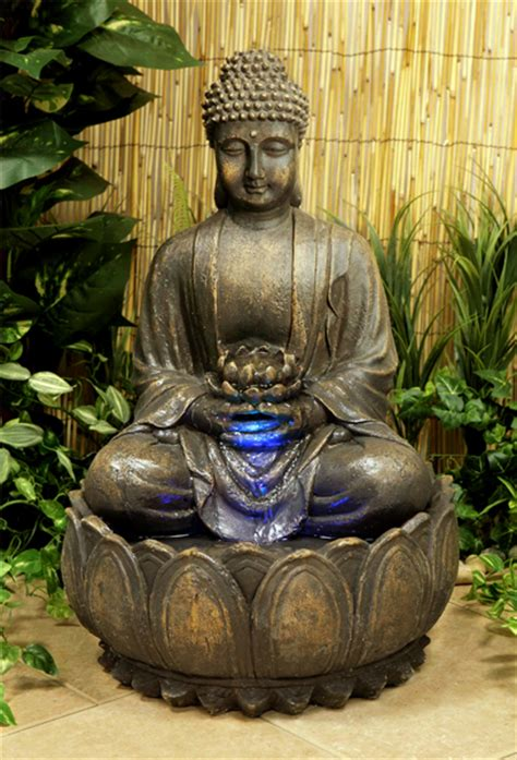 hcm blossoming buddha water feature  lights indoor