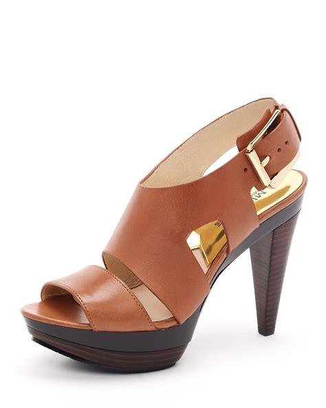 michael kors platform sandal michael michael kors carla platform sandals in brown
