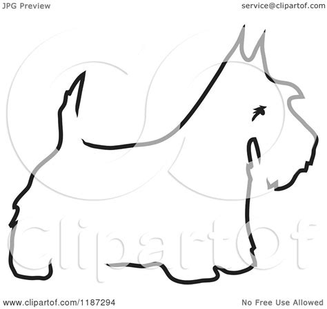 cartoon of a sketched black and white outline of a scottie