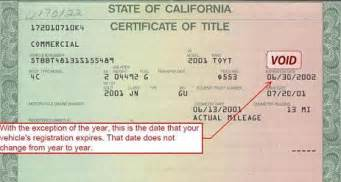 registering a new car in california when do my auto tags expire