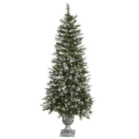 65ft frosted pre lit artificial christmas trees 6 5 pre lit frosted country pine cone potted artificial tree clear walmart