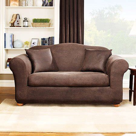 Leather Slipcovers by Sure Fit Stretch Leather 2 Sofa Slipcover Brown