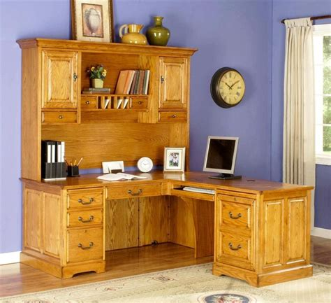 solid oak l shaped desk with hutch l shape desk w executive hutch set in golden oak