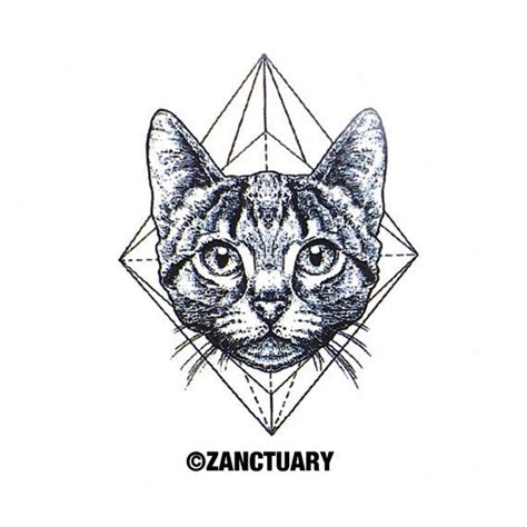 geometric tattoo unique geometric tattoo cute cat