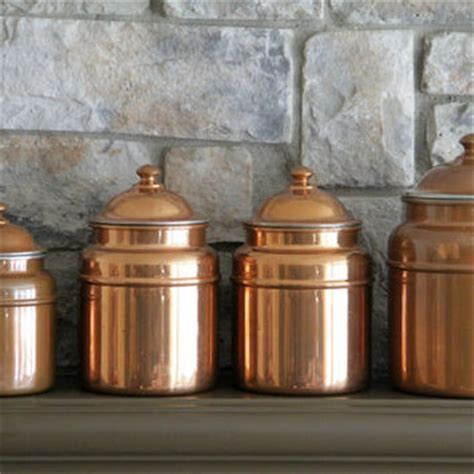 copper canister set kitchen copper canisters french country cans from mochagallery