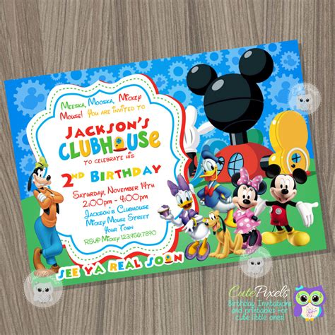 Mickey Mouse Clubhouse Invitation Mickey Mouse Birthday Mickey Mouse Clubhouse Birthday Invitations Template