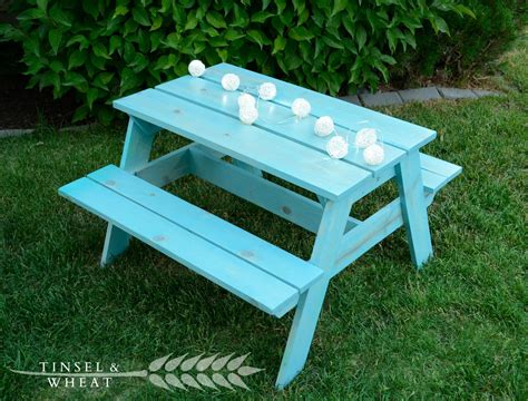 white picnic bench diy kids picnic table plans from anna white tinsel wheat