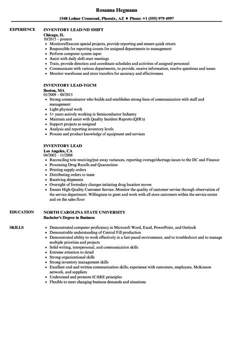 Inventory Resume by Inventory Lead Resume Sles Velvet