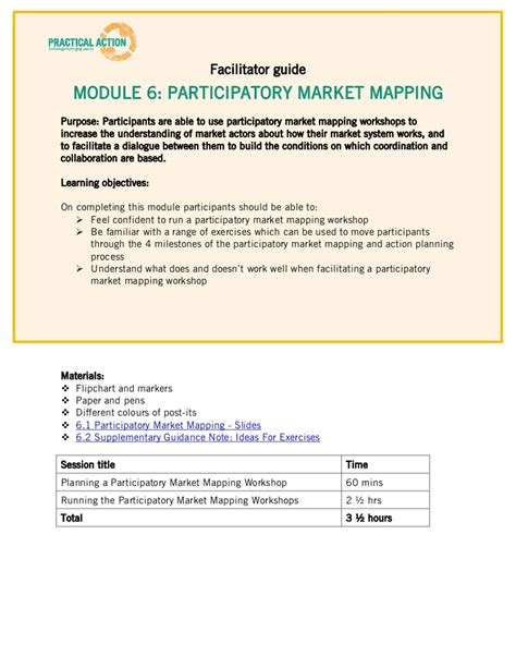 Step 6 Training Materials Facilitator Guide Workshop Facilitator Contract Template
