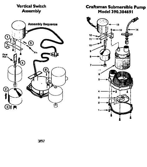 submersible parts diagram craftsman submersible sump parts model 390304691