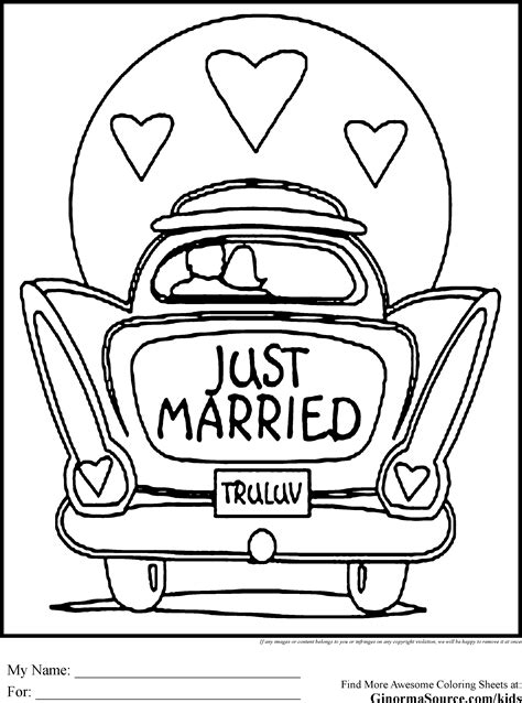 wedding coloring pages just married car ginormasource kids