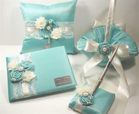personalized wedding guest book robin s egg blue wedding