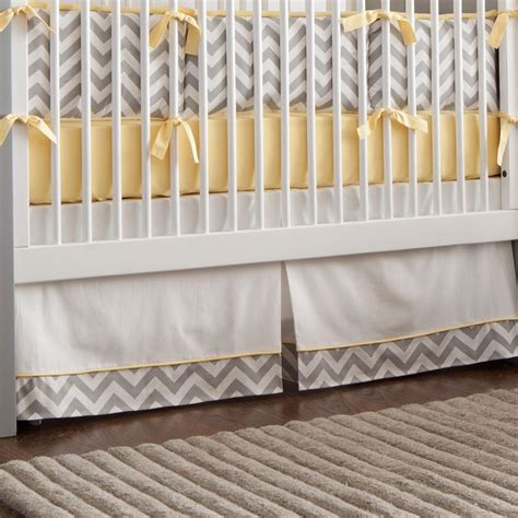 gray and yellow zig zag crib skirt box pleat carousel