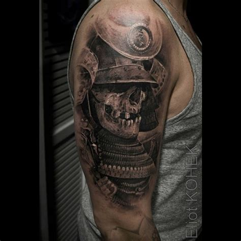 samurai tattoo black and grey black ink samurai skull with lotus tattoo design