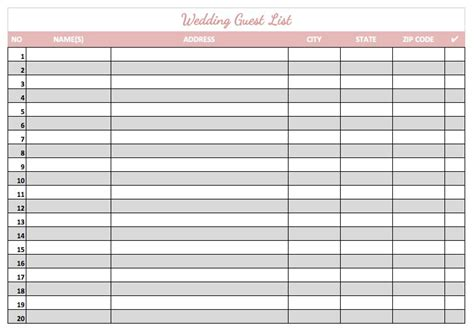printable wedding invite list 8 wedding guest list templates word excel pdf formats