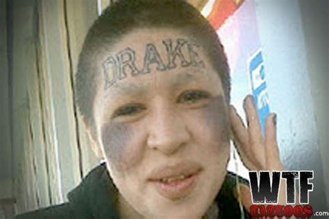 girl with drake tattoo on forehead poor drake bizarre forehead tattoos bizarre forehead
