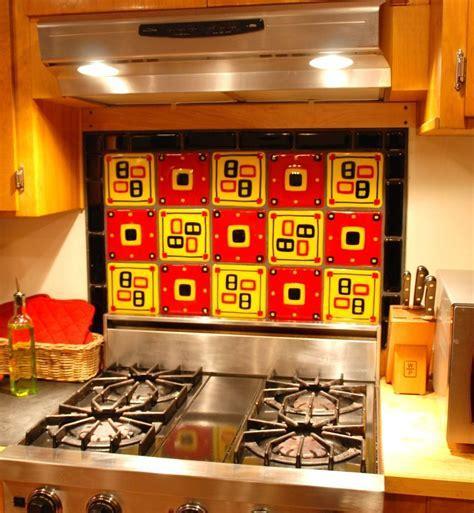 Handmade Kitchen Backsplash In Red, Gold, And Black; Fused