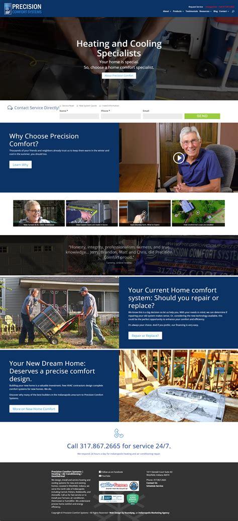 precision comfort systems web sles indianapolis web design roundpeg