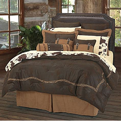 Western Quilt Bedding Sets Ranch Barbwire Western Bedding Comforter Set Chocoate