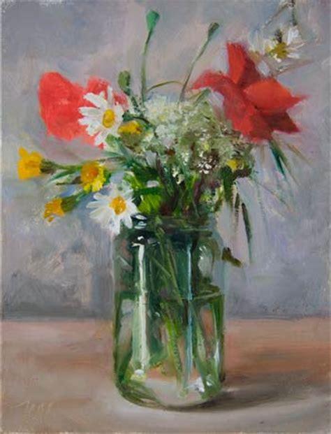 Flower Vase Glass Painting Wild Flowers In A Jam Jar Print