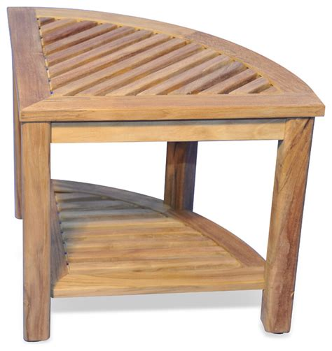 teak shower corner bench teak corner table or shower stool 20x20x18h rustic