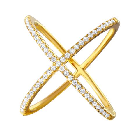 Crossed Ring sterling silver gold criss cross ring sgmr00039gp