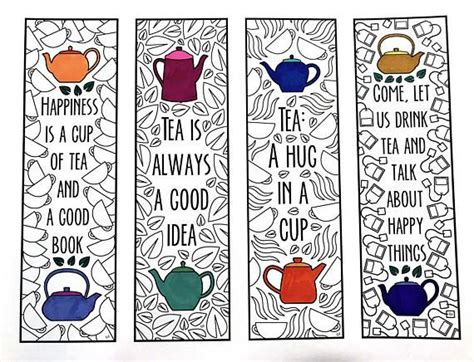 printable bookmark card stock tea quote bookmarks pdf zentangle coloring page