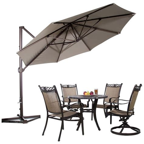 11 Ft Offset Patio Umbrella 11 Ft Offset Cantilever Umbrella Outdoor Patio Umbrella W Cross Basse Cover Ebay