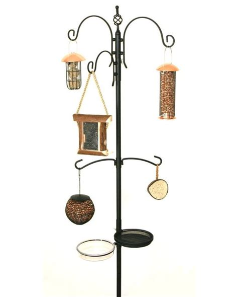 pin bird feeding station with garden id wall chart on